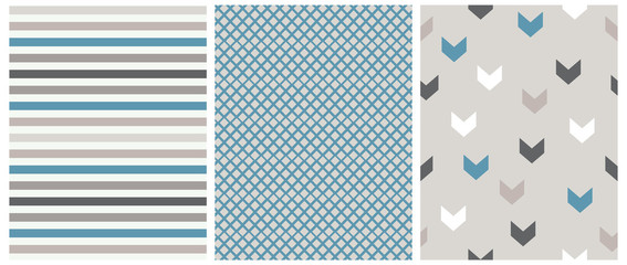 Abstract Geometric Vector Prints. Pale Blue, Brown and White Stripes, Arrows and Grid Isolated on a Light Warm Gray Background. Lovely Stripped Repeatable Vector Design. Cute Checkered Layout.