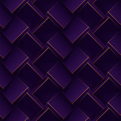Dark purple seamless geometric pattern. Realistic 3d cubes with thin golden lines. Vector template for for wallpapers, textile, fabric, wrapping paper, backgrounds. Texture with volume extrude effect.