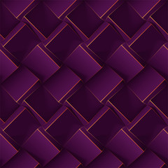 Dark violet seamless geometric pattern. Realistic 3d cubes with thin lines. Vector template for for wallpapers, textile, fabric, wrapping paper, backgrounds. Texture with volume extrude effect.