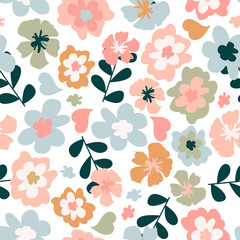 Seamless pattern with colorful pretty flowers, leaves and floral elements. Floral colorful design for baby products, fabric, wallpaper and more