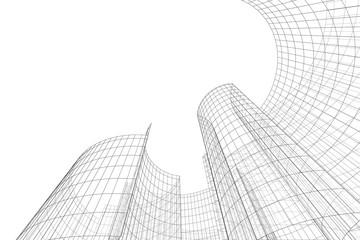 Architecture building 3d. Concept sketch. Futuristic backdrop