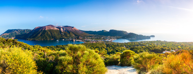 Panoramic view of Vulcano in the aeolian island a volcanic archipelago