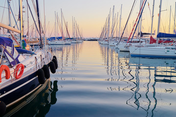 Marina harbour with beautiful white yachts in Athens, Greece.