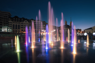 Musical colorful fountain