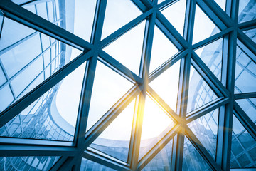 Mesh metal frame skylight in exhibition hall