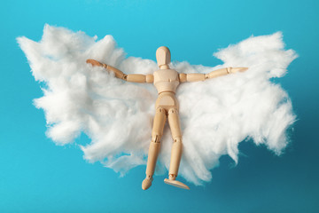Toy man relax on cloud bed. Business freedom, keep calm.