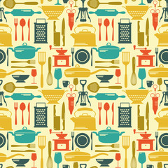 Seamless kitchen vector background with flat icons