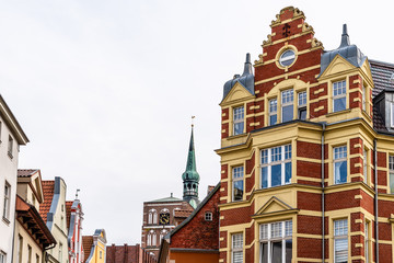 Traditional colorful houses with gable in the old town of Stralsund.