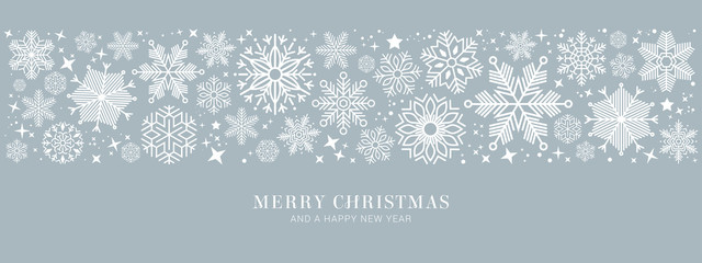 blue christmas card with white snowflakes vector illustration EPS10