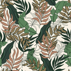 Abstract seamless tropical pattern with beautiful leaves and plants on beige background. Tropical botanical. Exotic wallpaper.Seamless exotic pattern with tropical plants.