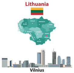Lithuania regions map and flag. Vilnius city skyline. Vector illustration