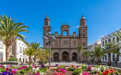 Landscape with Cathedral Santa Ana Vegueta in Las Palmas, Gran Canaria, Canary Islands, Spain