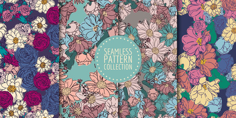 Floral seamless patterns collection. Vector design for paper, fabric, interior decor and cover