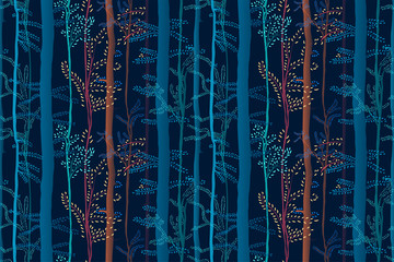 Magic forest seamless pattern. Colorful artistic background with trees. Creative fantastic print with glow effect.  It can be used for wallpaper, textiles, wrapping, card. Vector , eps10.