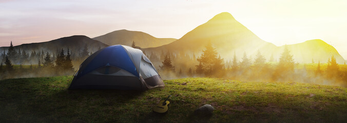 Panoramic tent in the mountains