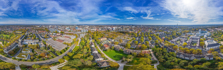 360° aerial panorama of ludwigshafen