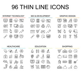 Vector Internet technology and programming linear icons. Html and php  line style simbols. Black development, seo and optimization and graphic designer tools icons. Education and medicine icons.