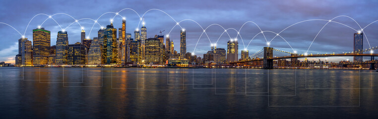 Technology Connection line between Panorama of New York Cityscape building at the twilight time, Architecture and building, Digital Data computer communication and internet of things concept concept
