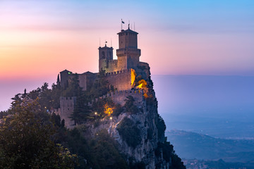 Guaita fortress or Prima Torre on the ridge of Mount Titano, in the city of San Marino of the Republic of San Marino at sunset