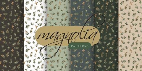 Magnolia Leaves Seamless Pattern