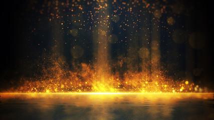 Streszczenie stylowy efekt świetlny na czarnym tle. Złota świecąca linia neonowa. Złoty świetlisty pył i spojrzenia. Latarka. świetlny szlak