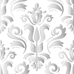 Seamless oriental silver ornament. Light silver vector traditional oriental pattern with 3D elements, shadows and highlights
