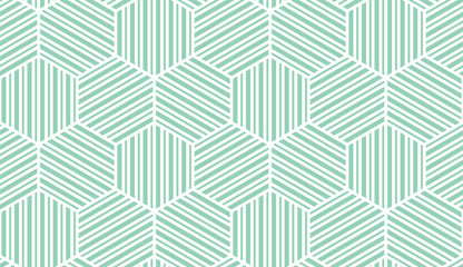 Abstract geometric pattern with stripes, lines. Seamless vector background. White and green ornament. Simple lattice graphic design