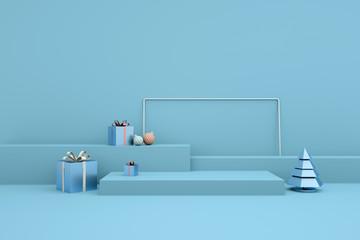 Wesołych Świąt i szczęśliwego nowego roku renderowania 3d z bombkami, choinką, pudełkiem, platformą do prezentacji produktu, wykpić się. Zimowa dekoracja, minimalistyczny design xmas