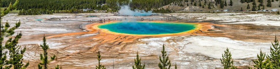 Grand Prismatic Springs and geyser basin landscape at Yellowstone National Park
