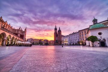 St. Mary's Basilica on the Krakow Main Square at Sunrise, Krakow