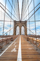 Brooklyn Bridge with nobody in cloudy day ,New York City ,USA