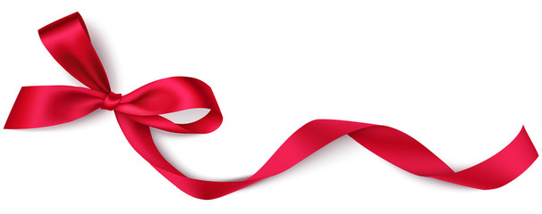 Decorative red bow with long ribbon isolated on white background. Holiday decoration. Vector illustration