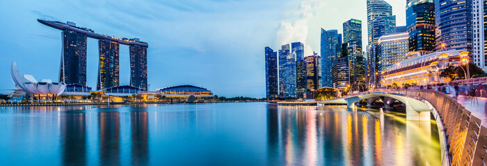 Panorama Cityscape sunset of Singapore