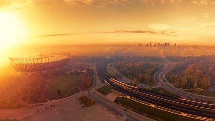 Warszawa, pomarańczowy wschód słońca
