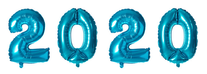 Blue number one balloon on white background