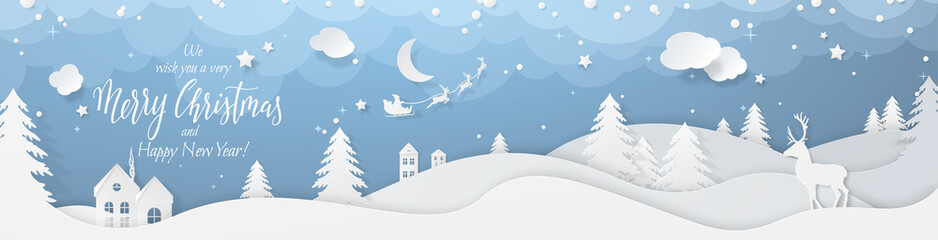 Winter landscape with deer paper cut-out and fir trees in snow. Festive horizontal banner with text Merry Christmas, Village and flying santa's sleigh in night sky with stars, snowfall and moon.