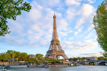 Eiffel Tower in summer morning