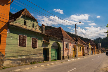Rasnov, Romania: Inside courtyard and old houses of The Rasnov Citadel - a medieval fortress in traditional romanian style near the town of Brasov