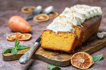 Sliced homemade carrot cake.