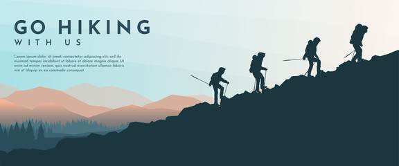 Vector template with tourists. Travel concept of discovering, exploring and observing nature. Hiking. Travelers climb with backpack and travel walking sticks. Website background. Flat landscape