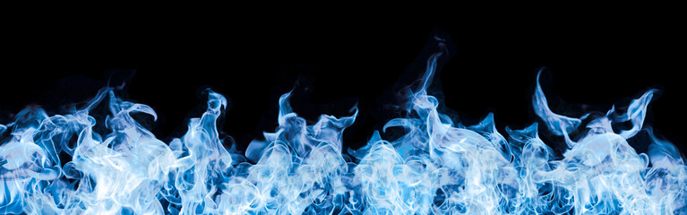 blue flames on black