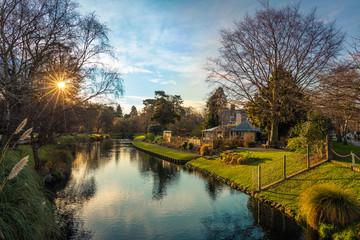 Sunset on the Avon River (Otakaro), Christchurch, New Zealand