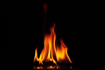 Close-up shot of a black background flame