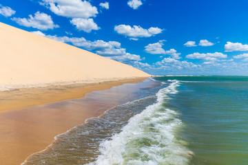 Beautiful empty beach in Jericoacoara, Brazil with waves near Sunset Dune