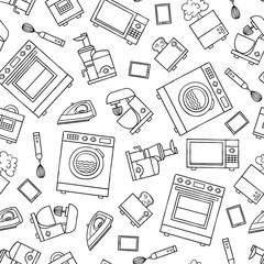 Vector seamless pattern with home appliances, electronics, kitchen quipment on white background