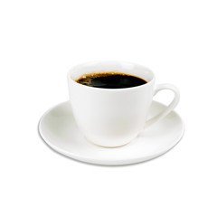 Coffee black in white ceramic cup isolated on white background