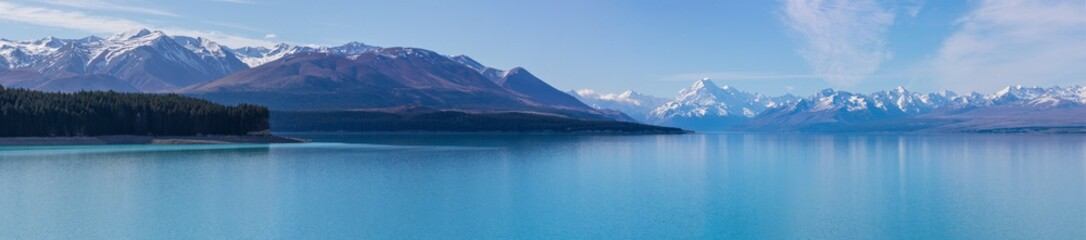 Panorama of Mount Cook and Southern Alps over Lake Pukaki, New Zealand