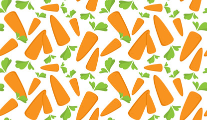 Carrot Seamless Pattern with flat orange vegetable, cartoon food illustration. Trendy background ornament. Cute print for menu, wallpaper, 100 vegan or vegetarian diet, textile design, easter, eco