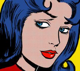 ilustracja twarzy dziewczyny w stylu komiksów z lat 60., pop-art