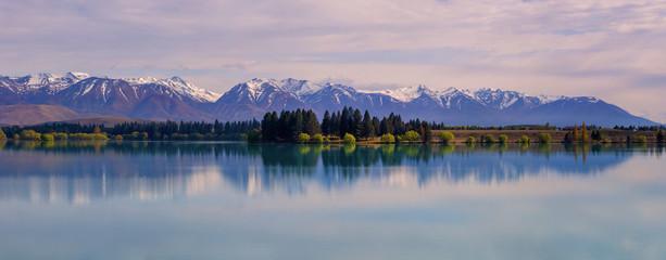 Panorama of Lake Ruataniwha near Twizel, New Zealand